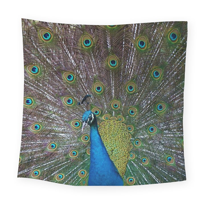Peacock Feather Beat Rad Blue Square Tapestry (Large)