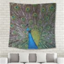 Peacock Feather Beat Rad Blue Square Tapestry (Large) View2