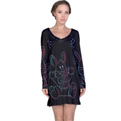 Easter Bunny Hare Rabbit Animal Long Sleeve Nightdress