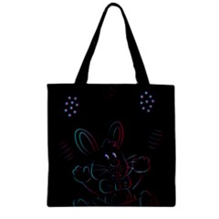 Easter Bunny Hare Rabbit Animal Zipper Grocery Tote Bag