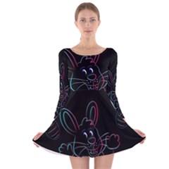 Easter Bunny Hare Rabbit Animal Long Sleeve Velvet Skater Dress