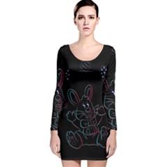 Easter Bunny Hare Rabbit Animal Long Sleeve Velvet Bodycon Dress