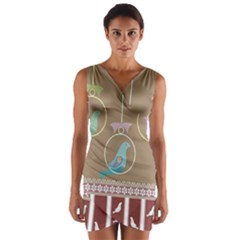 Isolated Wallpaper Bird Sweet Fowl Wrap Front Bodycon Dress