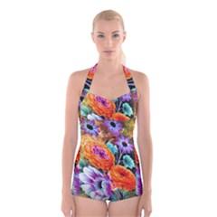 Flowers Artwork Art Digital Art Boyleg Halter Swimsuit