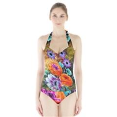 Flowers Artwork Art Digital Art Halter Swimsuit