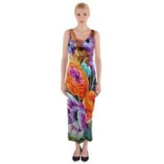 Flowers Artwork Art Digital Art Fitted Maxi Dress