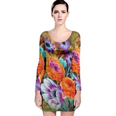 Flowers Artwork Art Digital Art Long Sleeve Velvet Bodycon Dress