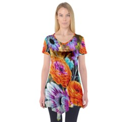 Flowers Artwork Art Digital Art Short Sleeve Tunic