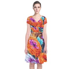Flowers Artwork Art Digital Art Short Sleeve Front Wrap Dress