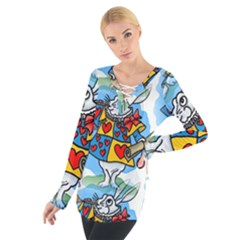 Seamless Repeating Tiling Tileable Women s Tie Up Tee