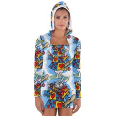 Seamless Repeating Tiling Tileable Women s Long Sleeve Hooded T Shirt