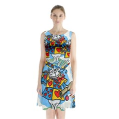 Seamless Repeating Tiling Tileable Sleeveless Chiffon Waist Tie Dress