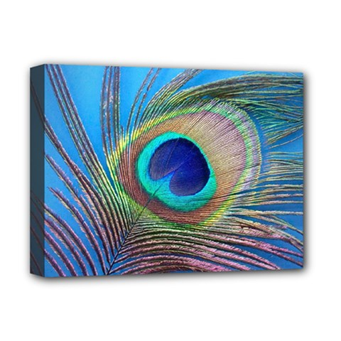 Peacock Feather Blue Green Bright Deluxe Canvas 16  X 12