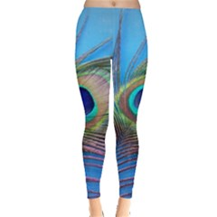 Peacock Feather Blue Green Bright Leggings