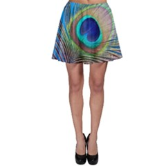 Peacock Feather Blue Green Bright Skater Skirt
