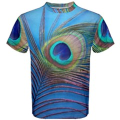 Peacock Feather Blue Green Bright Men s Cotton Tee