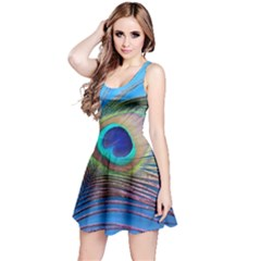 Peacock Feather Blue Green Bright Reversible Sleeveless Dress