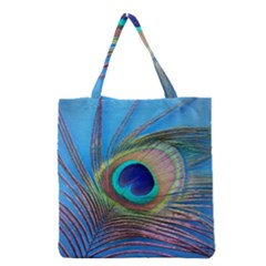 Peacock Feather Blue Green Bright Grocery Tote Bag