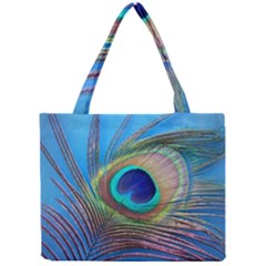 Peacock Feather Blue Green Bright Mini Tote Bag