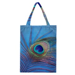 Peacock Feather Blue Green Bright Classic Tote Bag