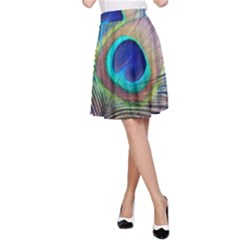 Peacock Feather Blue Green Bright A Line Skirt