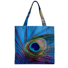 Peacock Feather Blue Green Bright Zipper Grocery Tote Bag