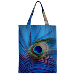 Peacock Feather Blue Green Bright Zipper Classic Tote Bag