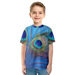 Peacock Feather Blue Green Bright Kids  Sport Mesh Tee