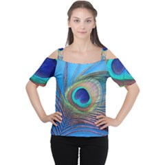 Peacock Feather Blue Green Bright Women s Cutout Shoulder Tee