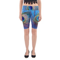 Peacock Feather Blue Green Bright Yoga Cropped Leggings