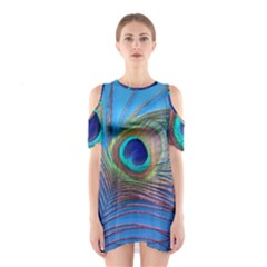 Peacock Feather Blue Green Bright Shoulder Cutout One Piece