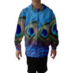 Peacock Feather Blue Green Bright Hooded Wind Breaker (kids)