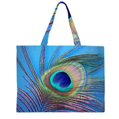 Peacock Feather Blue Green Bright Large Tote Bag