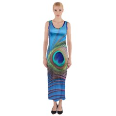 Peacock Feather Blue Green Bright Fitted Maxi Dress