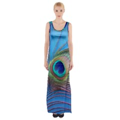 Peacock Feather Blue Green Bright Maxi Thigh Split Dress
