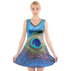 Peacock Feather Blue Green Bright V Neck Sleeveless Skater Dress