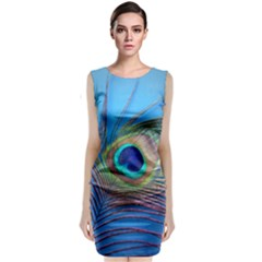 Peacock Feather Blue Green Bright Classic Sleeveless Midi Dress