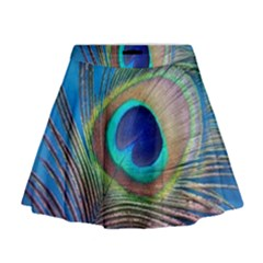 Peacock Feather Blue Green Bright Mini Flare Skirt
