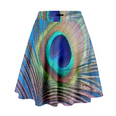 Peacock Feather Blue Green Bright High Waist Skirt