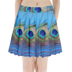 Peacock Feather Blue Green Bright Pleated Mini Skirt