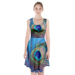 Peacock Feather Blue Green Bright Racerback Midi Dress