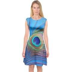 Peacock Feather Blue Green Bright Capsleeve Midi Dress
