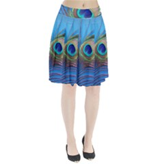Peacock Feather Blue Green Bright Pleated Skirt