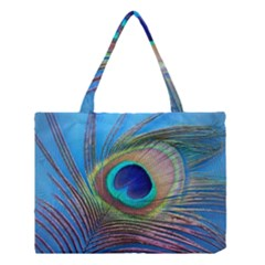 Peacock Feather Blue Green Bright Medium Tote Bag
