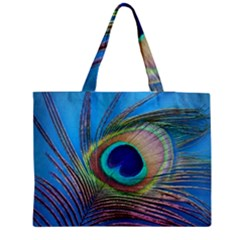 Peacock Feather Blue Green Bright Medium Zipper Tote Bag