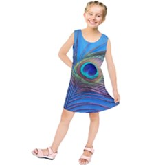Peacock Feather Blue Green Bright Kids  Tunic Dress