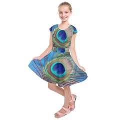 Peacock Feather Blue Green Bright Kids  Short Sleeve Dress