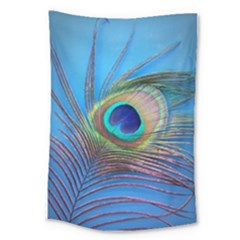 Peacock Feather Blue Green Bright Large Tapestry