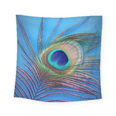 Peacock Feather Blue Green Bright Square Tapestry (small)
