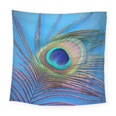 Peacock Feather Blue Green Bright Square Tapestry (large)